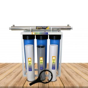 whole house water filter with three stage uv filter system